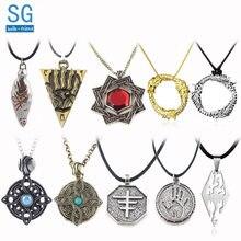 SG 20 pz Elder Scrolls amuleto Morrowind ciondoli collane fratello scura dinosauro triangolo uomo gioielli all'ingrosso