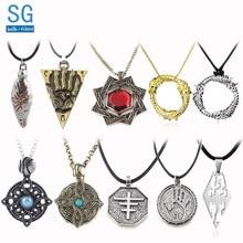 SG 20Pcs Elder Scrolls Skyrim Amulet Morrowind Pendants Necklaces Dark Brotherhood Dinosaur Triangle Men Wholesales Jewelry