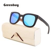 New green Retro Black Wooden Sunglasses lady polarized Blue Sunglasses wooden bamboo UV400 sunglasses oculos de sol feminine