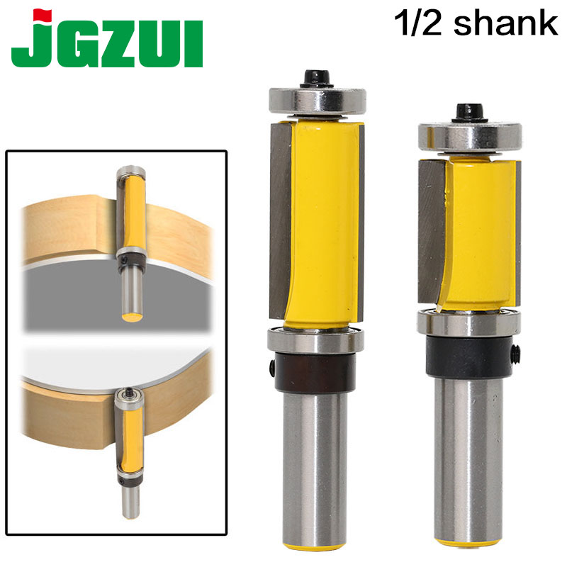 1Pc 1/2 Shank Flush Trim Router Bit Top & Bottom Bearing - 1-1/2H For Woodworking Cutting Tool