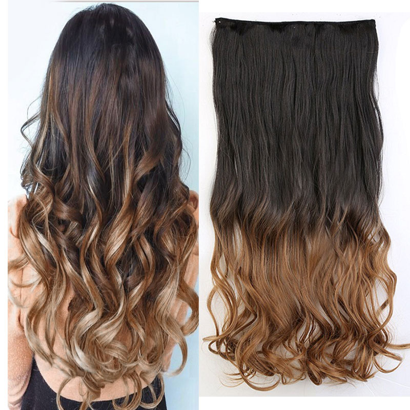 Snoilite 23 Inch Curly Synthetic Ombre Hair Extension 5 Clips In On