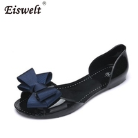 EISWELT Autumn Flats Crystal Jelly Summer Shoes Female Sweet Bow Open Toe Flat Heel Casual Beach