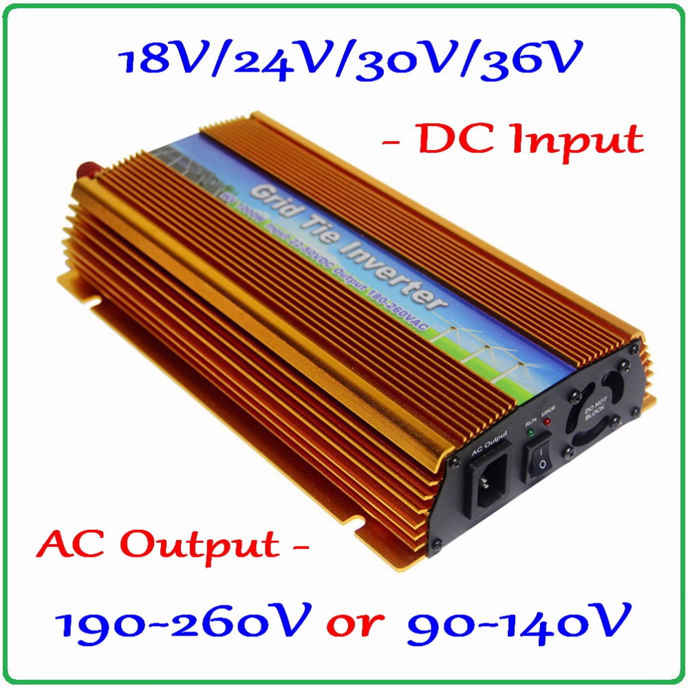 1000W MPPT Grid Tie Inverter 10.5-30V / 22-50V DC to AC 190-260V or 90-140V Solar Wind Power On Grid Inverter 1000W new 600w on grid tie inverter 3phase ac 22 60v to ac190 240volt for wind turbine generator