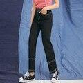Черные Джинсы Женщина 2017 Новый Япония Стиль Мода Винтаж Ripped Кисточкой Тонкий Высокой Талии Длинные Брюки Джинсовые джинсы feminino 3087