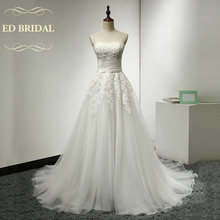 A Line Sweetheart Tulle over Organza Wedding Dress with Lace Appliques China Bridal Gowns vestido de noiva robe de mariee