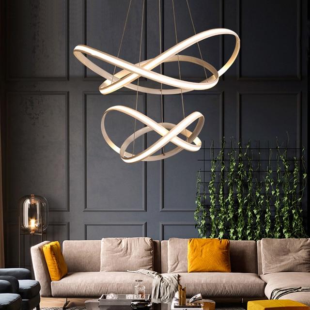 Nueva Espiral Moderno arte Colgante LED Luces De Sala de estar ...