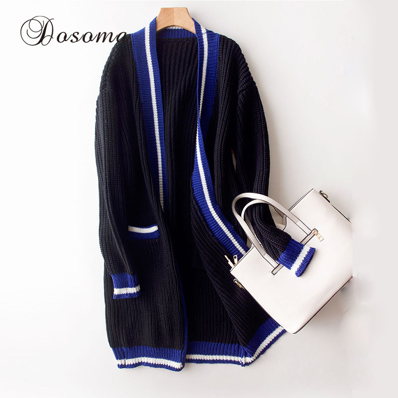 Autumn Contrast Color Long <font><b>Cardigan</b></font> Women Dark Blue Poncho Sweater Female Loose <font><b>V-neck</b></font> Long Sleeve Pocketed <font><b>Ribbed</b></font> Sweaters 2017