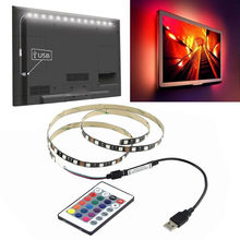 MUQGEW 5 V 5050 60SMD/M tira de luz LED RGB Bar TV Kit de iluminación USB + Control remoto led rgb ambilight Super-brillante decoración para el hogar(China)