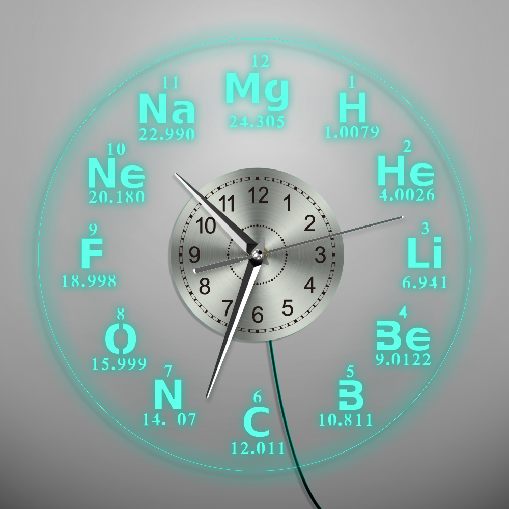 1Piece Chemical Element Periodic Wall Clock With Backlight LED Lighting Wall Lamp Modern Home Decor Led Nightlight Teacher Gift scosche revivelite ipod home charger with nightlight