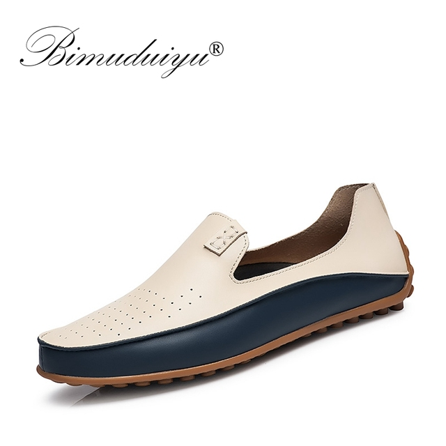 BIMUDUIYU Merk Zomer Causale Schoenen Mannen Loafers Ademende Gaten Platte Schoenen Hoge Kwaliteit Leer Mocassins Rijden Schoenen