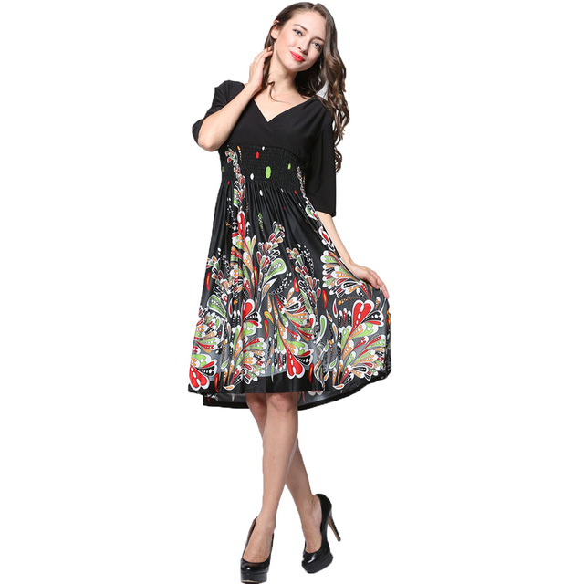 L 7XL Black Summer Dress Plus Size Dresses Half Sleeves Print