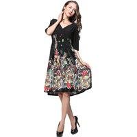 L-7XL Czarna Sukienka Plus Size Sukienki Pół Rękawy Sukienki Druku 2017 Artystycznej Kwiatowy Duży Rozmiar 6XL V neck Kobiety Midi Sukienka