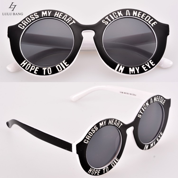 ff86682861 UV 400 Vintage Sunglass Women Round frame Sunglass English letters Cute  sunglasses fashion personality cross my heart-in Sunglasses from Apparel  Accessories ...