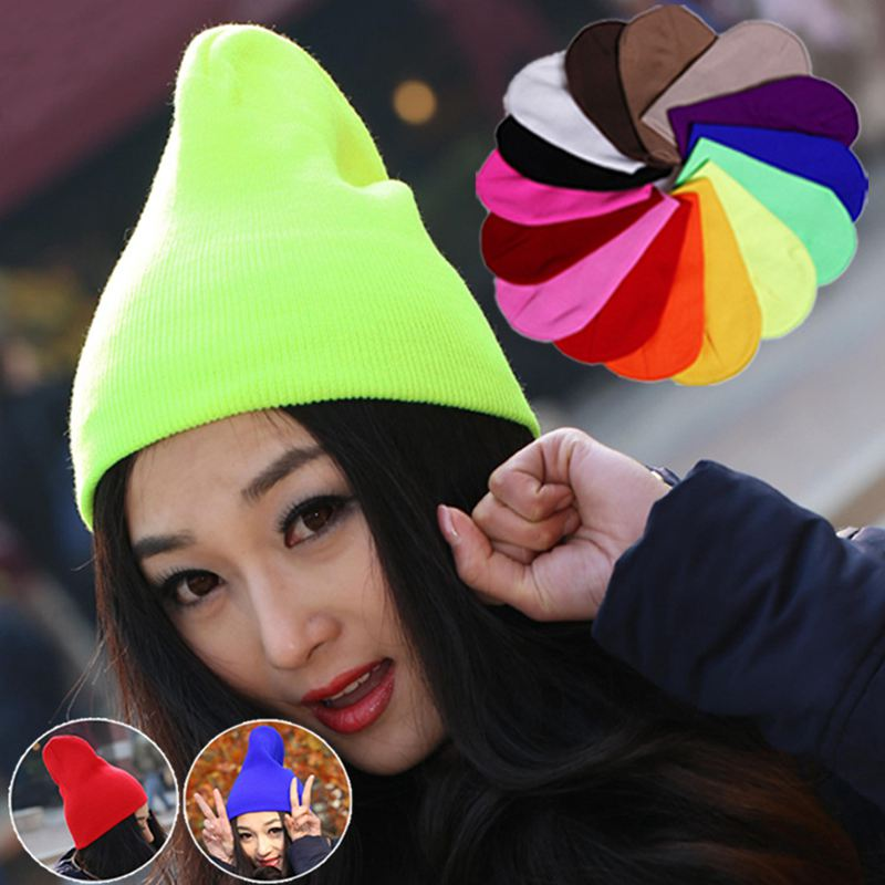 New 2017 Fashion Knitted Neon Men Women Beanie Autumn Winter Casual Cap Warm Hats Bonnet Girl Hip hop Candy Color Hat Skullies