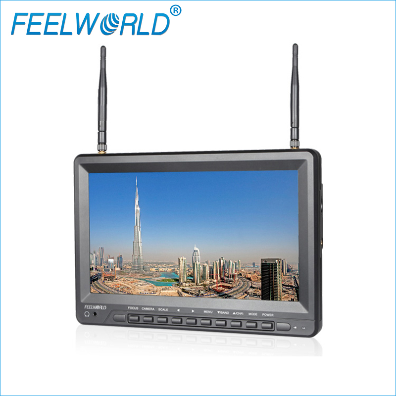 FPV1032 10.1 Inch IPS FPV Monitor with Built-in Battery Dual 5.8G 32CH Diversity Receiver Feelworld 1024x600 Wireless Monitors