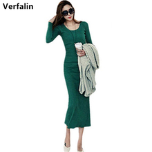 Verfalin 2016 New Autunm Women Long Bandage Sweater Dresses Suit Long Sleeve Robe Knitting Girls Vestidos bodycon Pencil Dresses