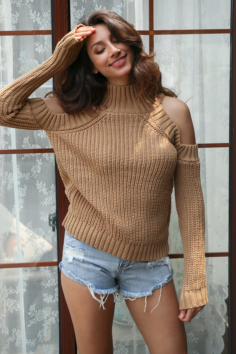 Simplee Turtleneck off shoulder knitted pullovers Sexy tricot cut sleeve sweater women Winter casual oversized jumper 9