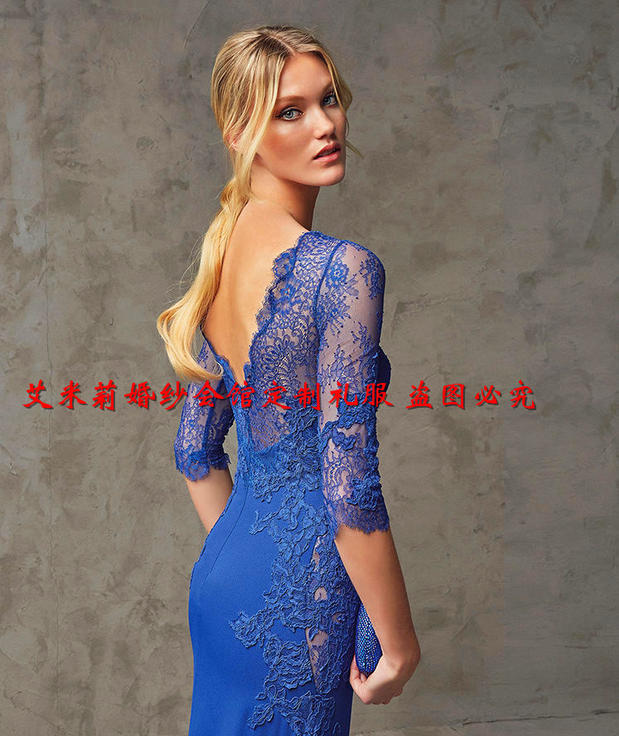new hot sexy boat neck sleeves blue lace long prom dresses 2015 vestido de festa floor-length mermaid Formal Evening Dress