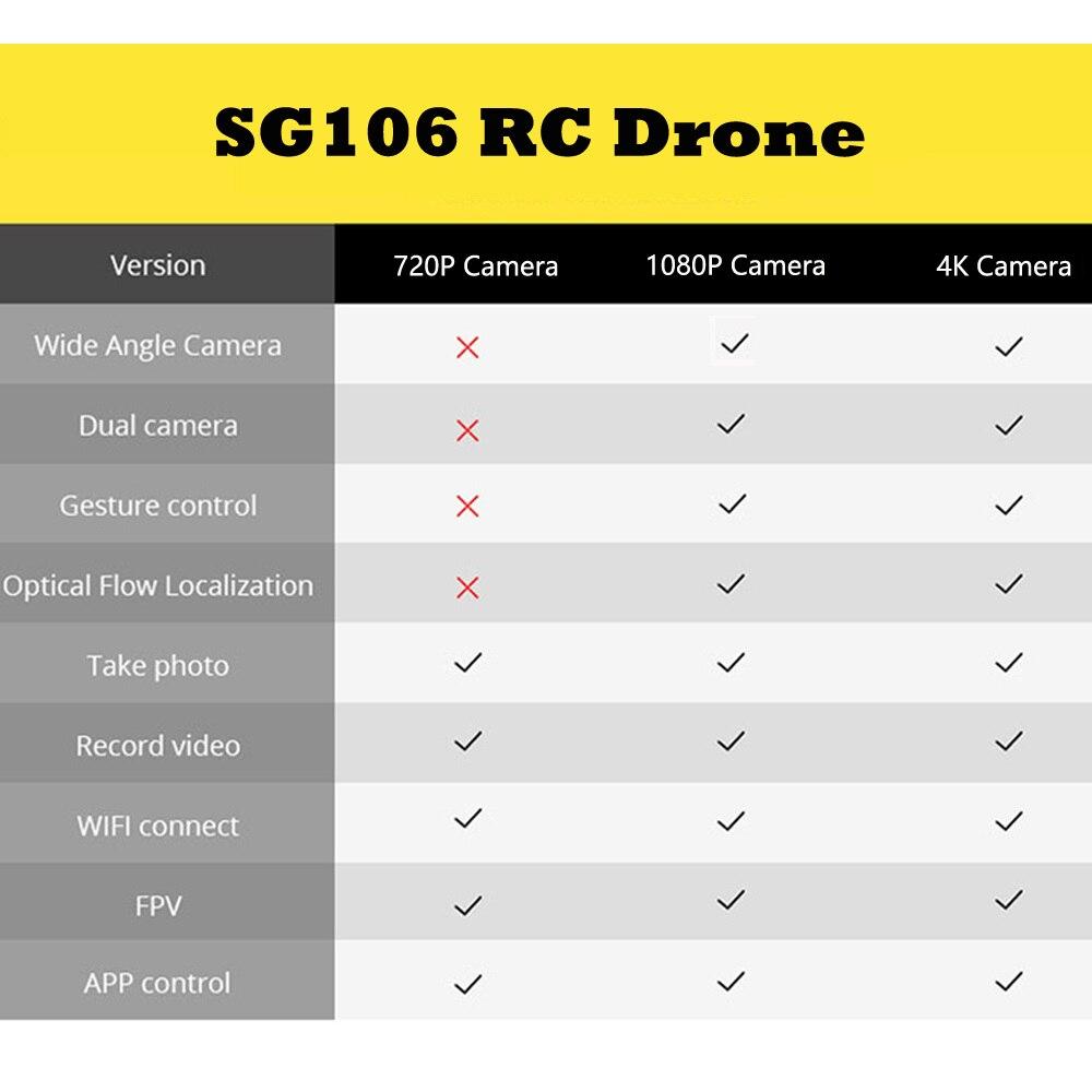 SG106 WiFi FPV RC Drone 4 K caméra flux optique 1080 P HD double caméra aérienne vidéo RC quadrirotor avion Quadrocopter jouets enfant - 6