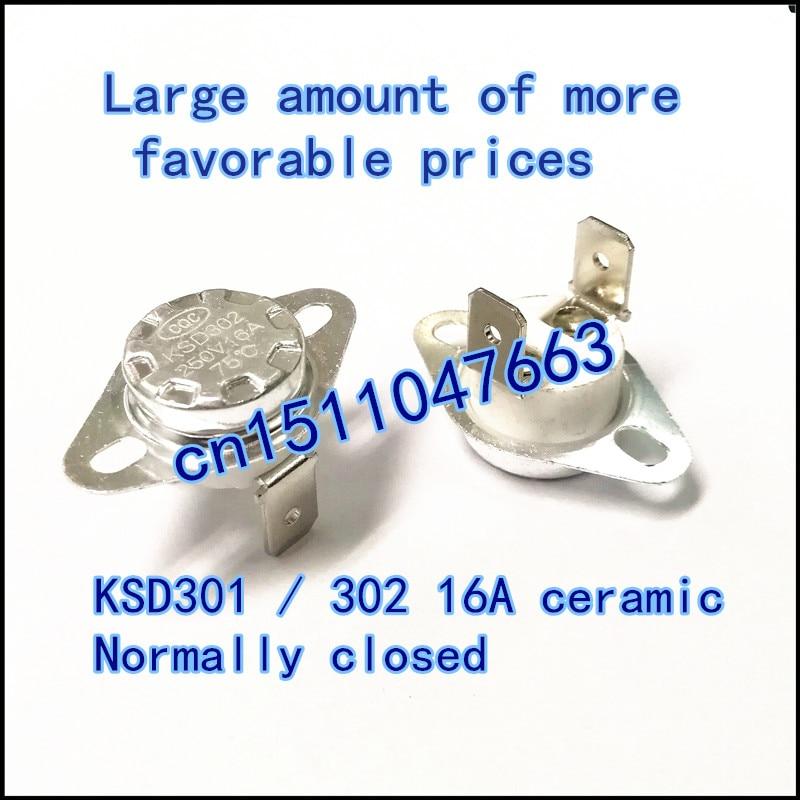 KSD302 65C 16A 250V normal close NC Ceramics thermostat KSD301 16A250V 65degree CQC thermal control