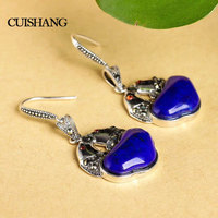 CSJ Natural Lapis Lazuli Earrings Vintage Pendant Earrings For Women Antique Silver Fine Jewelry for Wedding Engagement Party