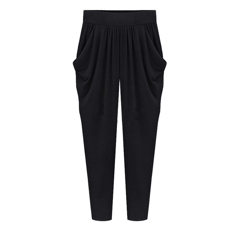 Large Size 6xl 7xl 8xl Soft Silk Harem   Pants   Ladies Summer Loose Casual Ankle Length Trousers Elastic Waist   Capri     Pants   Woman