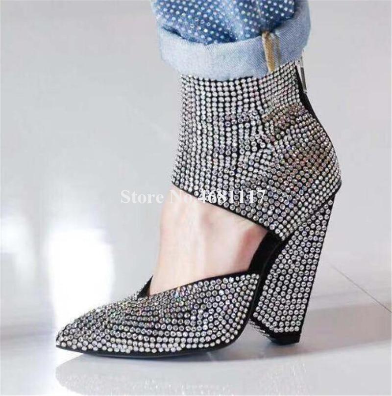 Femmes luxueux Bling Bling bout pointu strass pointe talon bottes courtes cheville Wrap cristal étrange talon bottines