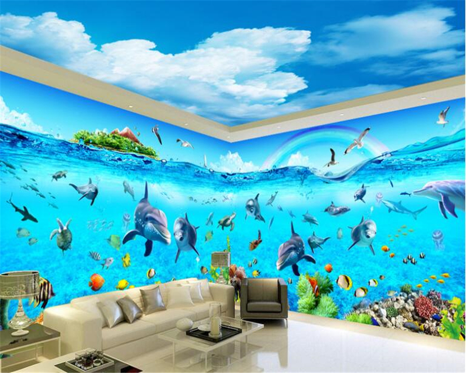 beibehang Advanced Decorative Wallpaper Aesthetic Blue Sky White Cloud Ocean World Theme Space Background papel