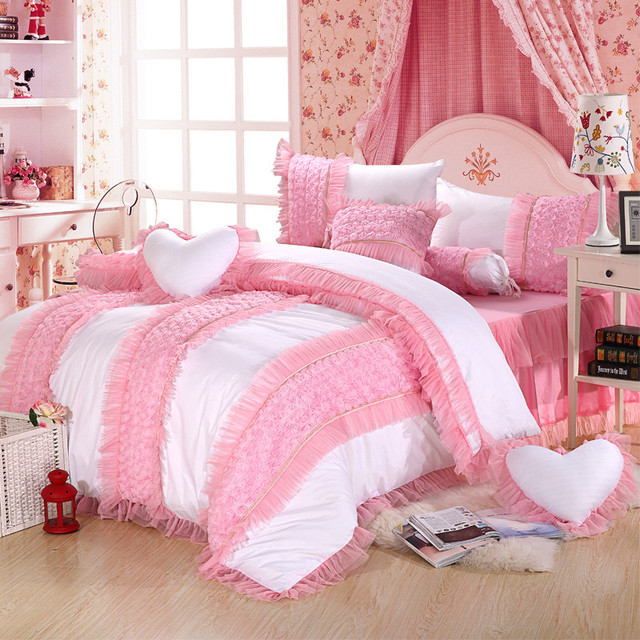 US 39 OFF White Pink Cotton Lace Bedding Set King Queen Twin Size Single Kids Girls Bed Set Bedsheet Set Duvet Cover Pillowcase In Bedding