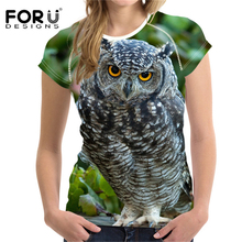 FORUDESIGNS 3D Owl Print Women T-shirt Casual Summer Womens T Shirts Animal t-shirt Female Funny t shirt Femme Tops Tees Plus XL