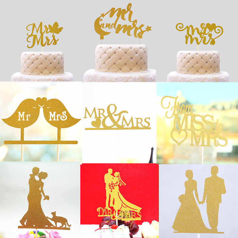 Glitter Love Heart Wedding Cake Topper Bride Groom Mr Mrs Souvenirs Birthday Party Decoration Wrapper Baby Shower Centerpieces