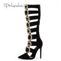 Марка Розовый ладони Для женщин летние зимняя обувь на высоком каблуке Острый носок сандалии женские ботильоны С кристалалми и стразами пи