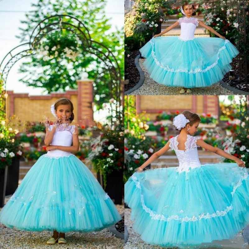 Tulle   Flower     Girl     Dress   For Weddings with Appliques Lace Up Back Crew Sheer Neck Custom Made For 2-14 Beautiful Princess Longo