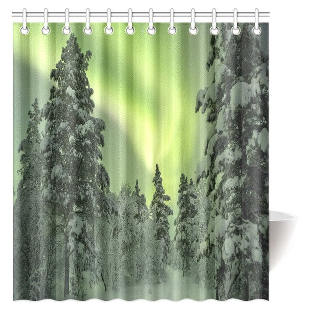 Aplysia Nature Shower Curtain Decor Magical Spectacular Northern Lights Sky Arctic Solar Winter Scenery Fabric Bath