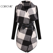 COLROVIE Fashion Outerwears Women Spring Design Brand Ladies Trench Coat Casual Splicing Black White Plaid Long Sleeve Belt Coat