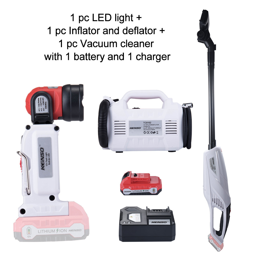 3-Piece Combo Kit KEINSO 12V Lithium-Ion LED Light Inflator and Deflator Combination 2-Tool Cordless Power Tool 2.0Ah Battery