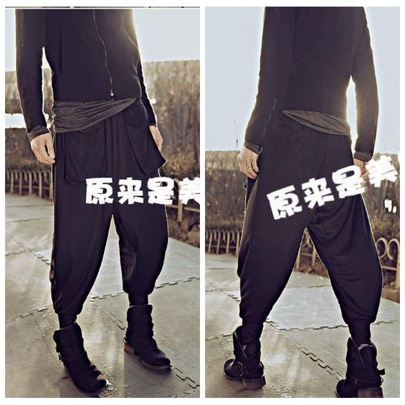 2018 New Real Elastic Waist Flat Spring Summer A Thin Elastic Waist Loose Haroun Pants Men Leisure Of Height Turnip Beam in Harem Pants from Men 39 s Clothing