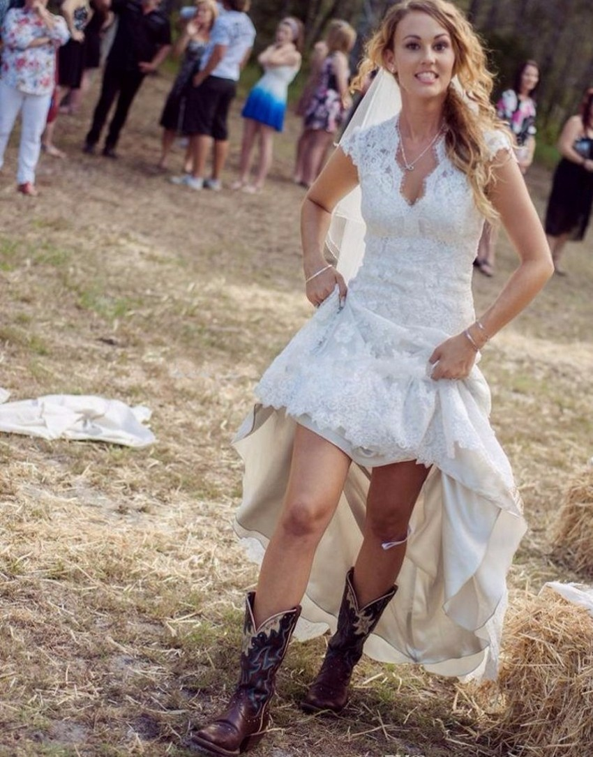 Western Bridesmaid Dresses With Cowboy Boots