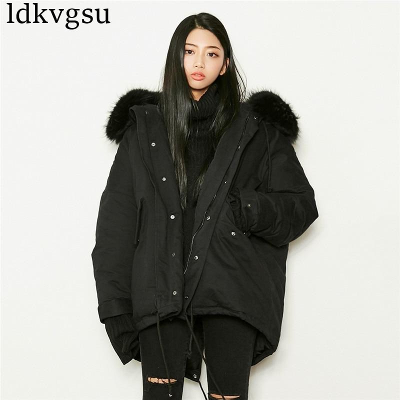 brand Ovesized 2018 Winter Jacket Women   Parka   Outwear   Parkas   Big Size Raccoon Fur Coat Black Down Jacket Warm Thick Oervcoat V49