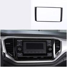 lsrtw2017 titanium black stainless steel car navigation frame trims for volkswagen t-roc 2017 2018 2019 2020