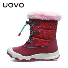 UOVO Kids Snow Boots Waterproof Girls Shoes 2019 New Warm Winter Boots Children's Rubber Boots Mid-Claf Footwear Size 29#-38#