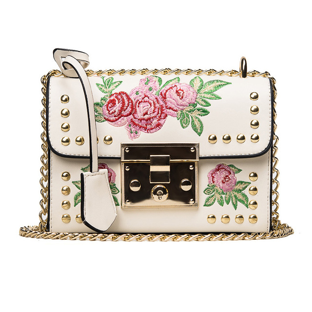 bf0e185490 Women Embroidery Flower Flap Bag Designer PU Leather Fashion Rivet Messenger  Bags Feminina Ladies Small Shoulder Bag Sac
