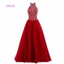 Vintage Halter Crystal Red Vestido Noche Largo High Quality Tulle Long Prom Dress 2019 A-Line Sleeveless Custom Made Robe Sirene