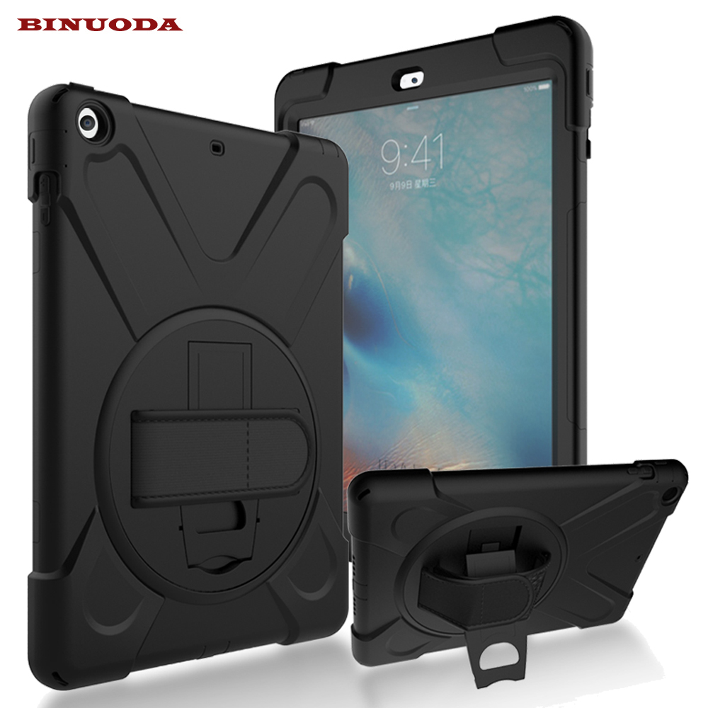 For iPad Air Case 360 Degree Rotate Full Body Rugged PC Silicone Hybrid Kid Cover Cases for iPad Air iPad5 with Hand Hold Strap