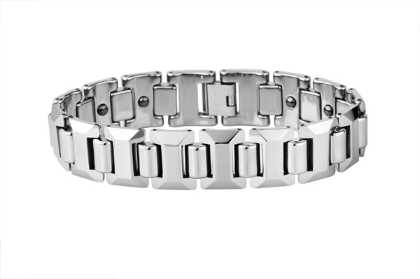 Men Polished Shiny Tungsten Carbide Beveled with Germanium Magnetic Bracelets /TUBR1004