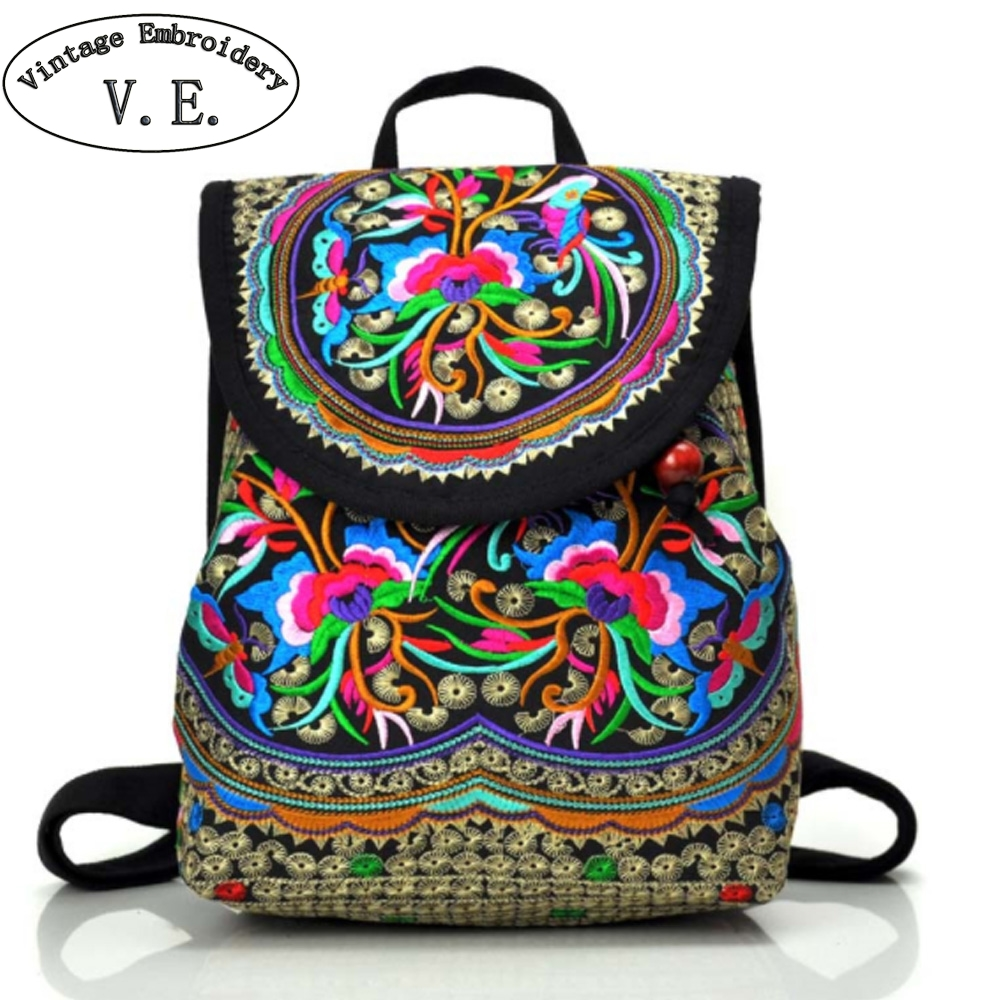 Vintage Embroidery Women Backpack Canvas Drawstring Floral Embroidered Shoulder Bag Beach Small Rucksack Mochilas Escolares