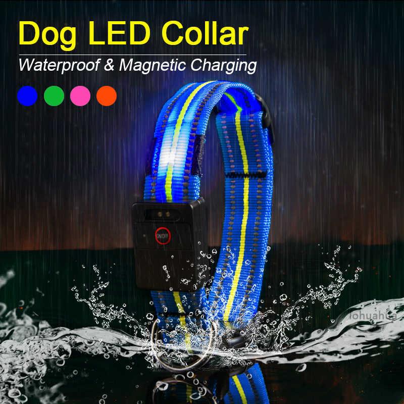 Tahan Air LED Anjing Kerah Asli Magnetic Pengisian Bersinar Kerah Untuk Anjing Anti-Lost Aman Bercahaya Anjing Kerah Aksesoris