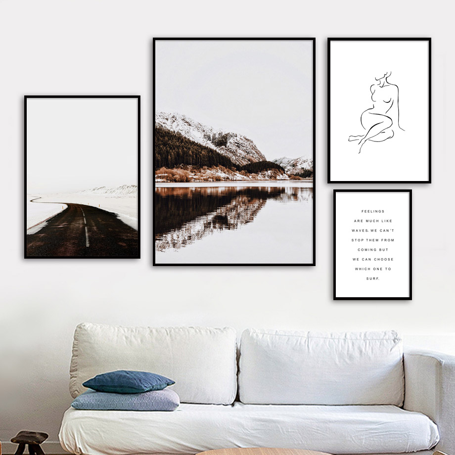 Line Woman Snow Mountain Road Landscape Wall Art Canvas Painting Nordic Posters And Prints Pictures For Living Room Decor
