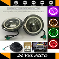 """Hot selling 7"""" LED headlight hi/low beam for Harley Davidson Dyna 7 inch round with halo angel eye 9-30v 40w DRL driving lamp"""