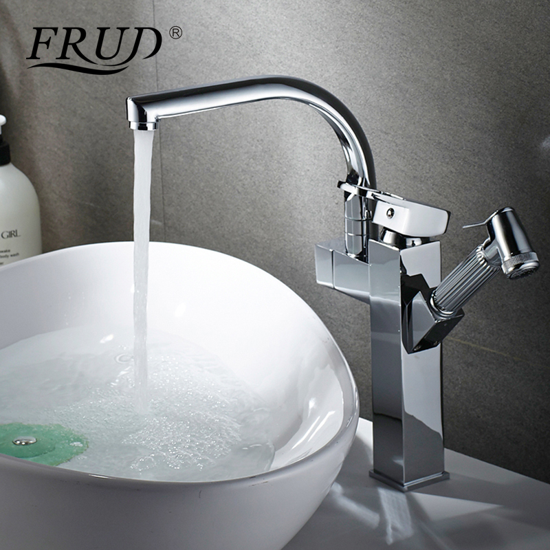 FRUD 1 Set Kitchen Faucet Mixer New Style Dual Spout Pull Out Kitchen Sink Faucet Deck Mounted Sprayer Kitchen Taps Y40059/60 frap kitchen faucets pull out shower sprayer deck mount sink vessel kitchen sink faucet dual spout for kitchen mixer taps y40058